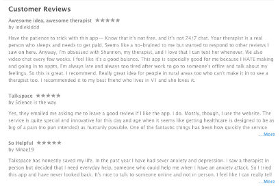Talkspace app customer reviews iTunes