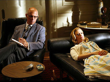 expensive therapist office Betty Draper Mad Men couch