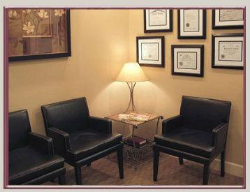 framed degrees in therapist office