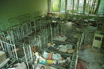Ukranian orphanage nursery cribs