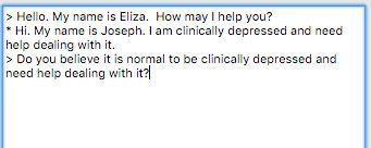 eliza chatbot therapist text