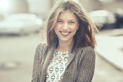 woman smiling street