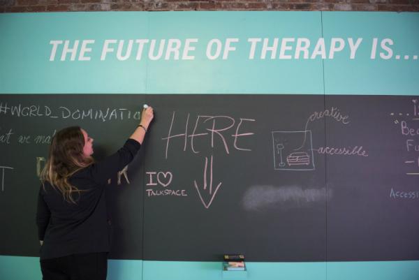 Talkspace Molly Enking chalkboard conference