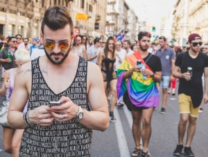 gay man smartphone rally