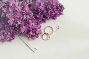 rings notebook flowers wedding planning