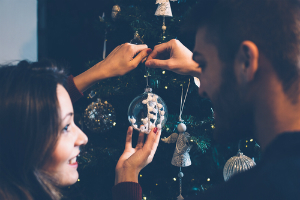 couple christmas tree ornaments