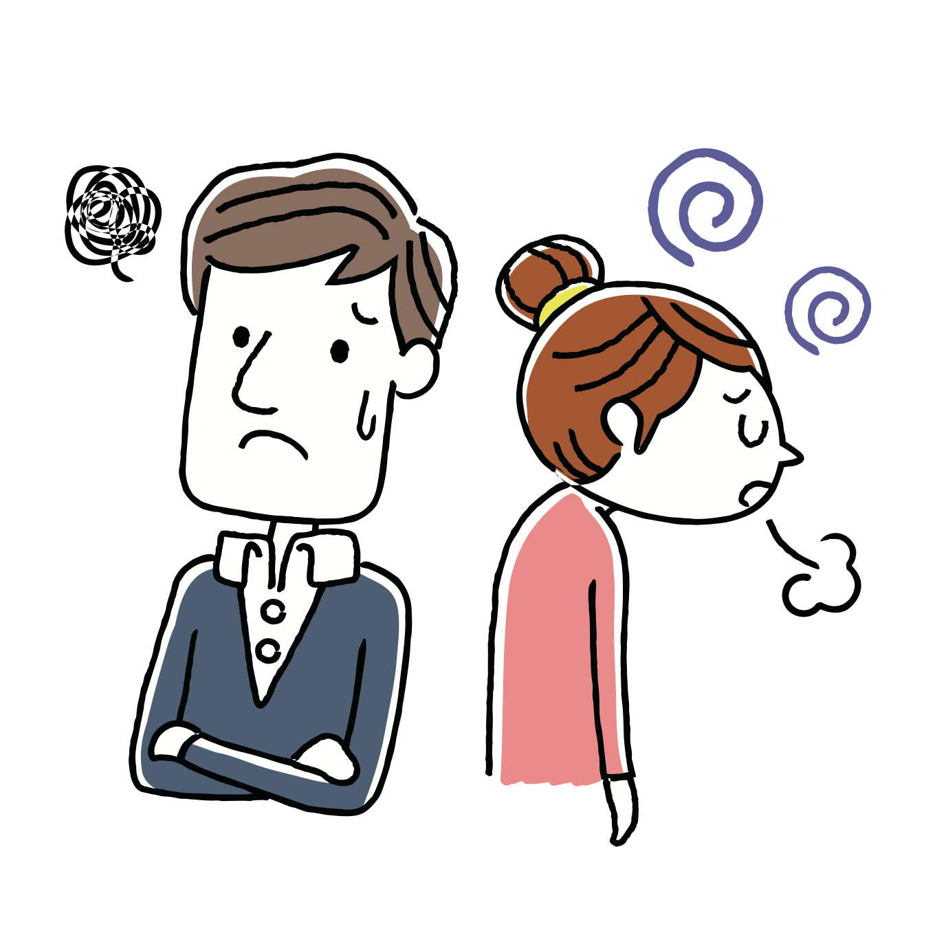 anxious man stressed woman sketch