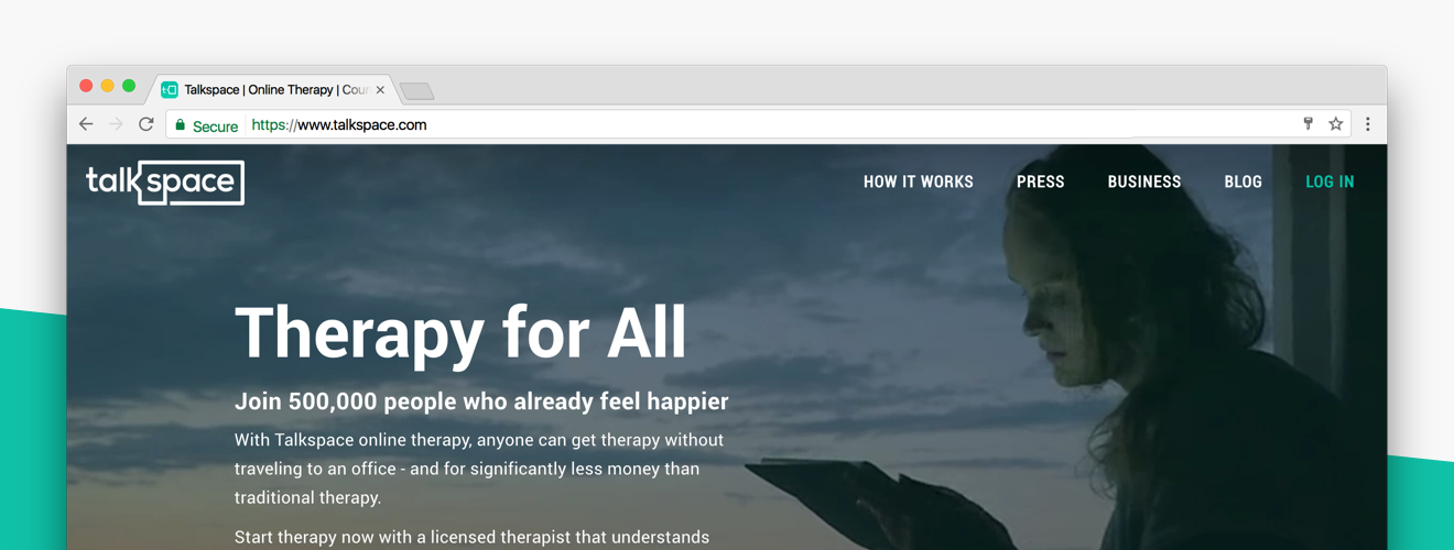 Talkspace homepage