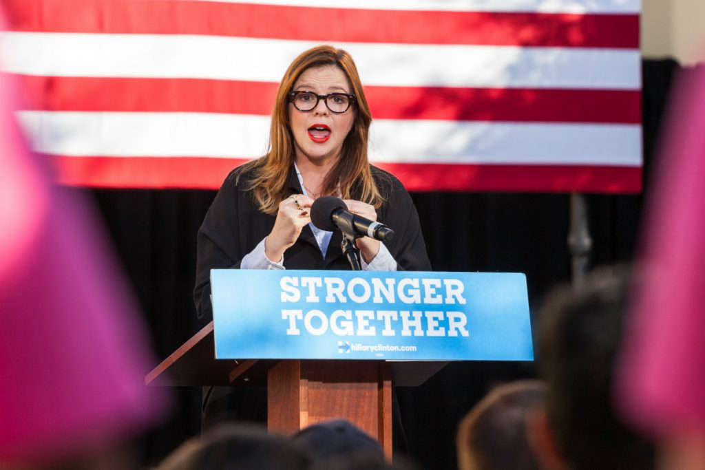 amber tamblyn stronger together podium