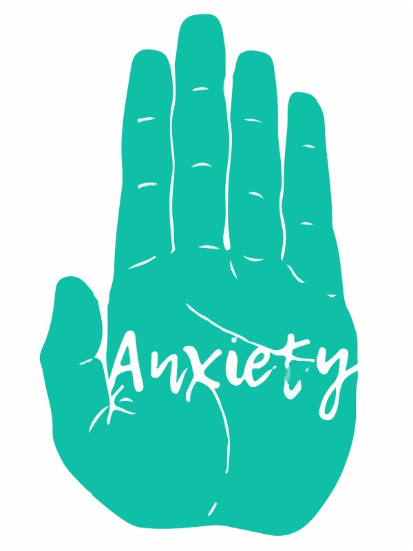 green hand anxiety text