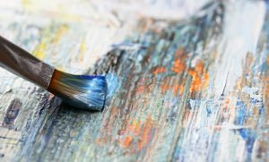 blue paint brush canvas