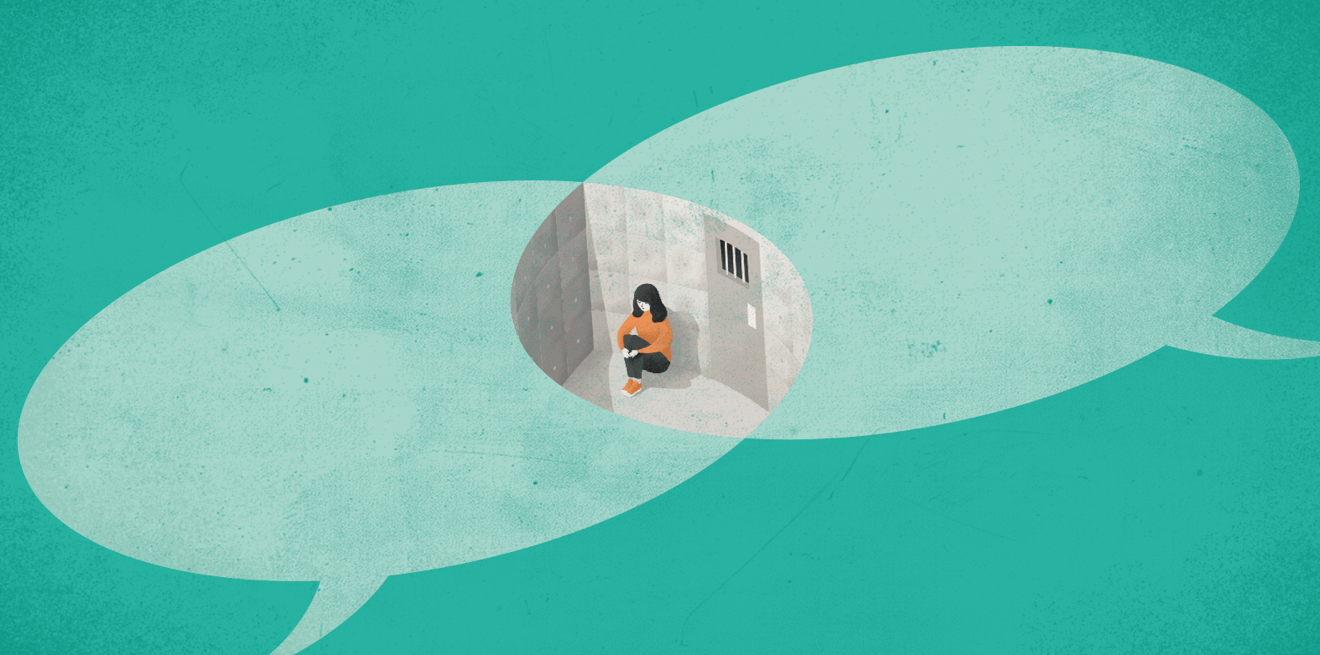woman psychiatric hospital cell illustration