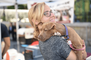woman volunteer dog animal shelter