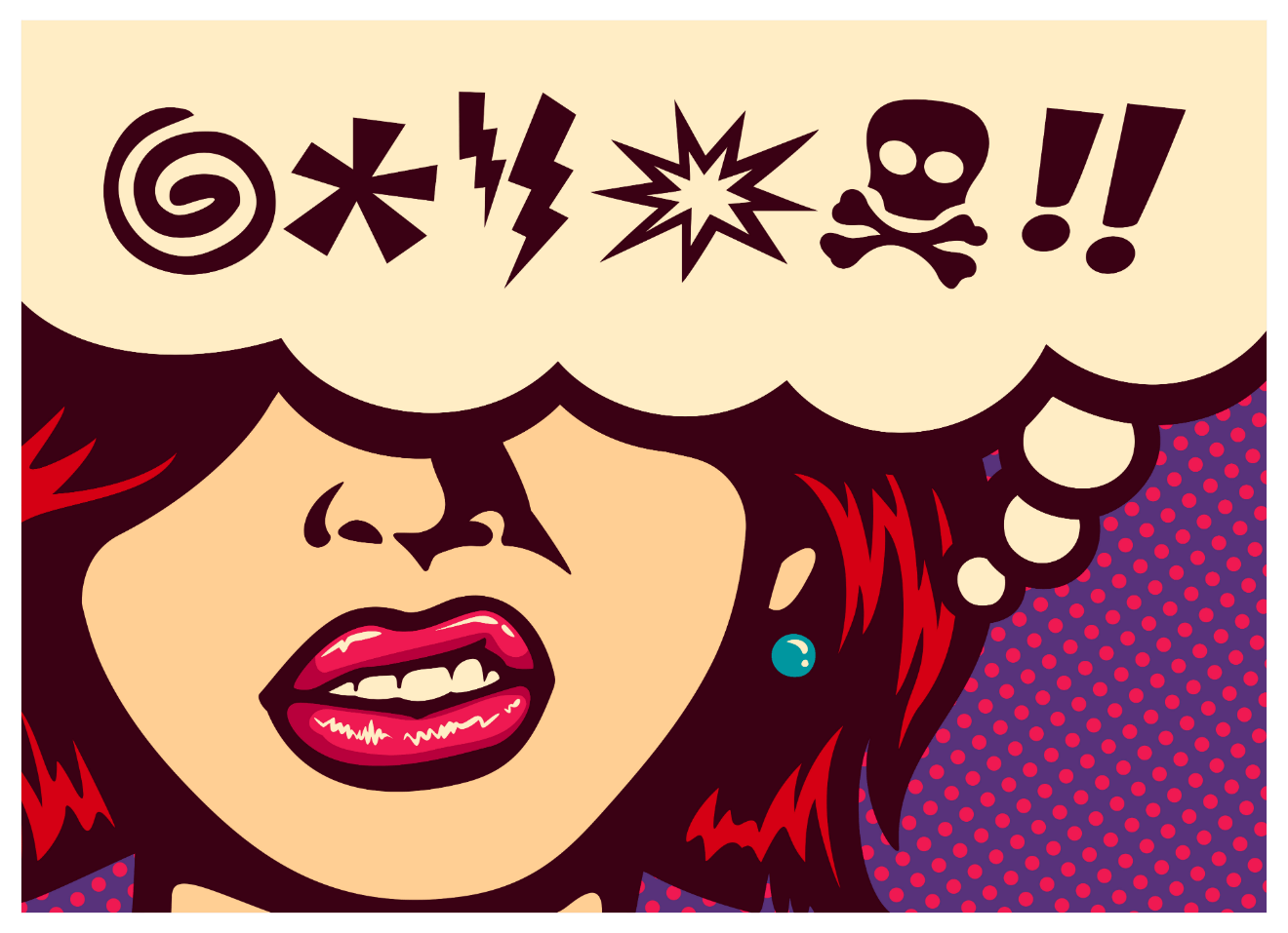 angry woman expletives cartoon