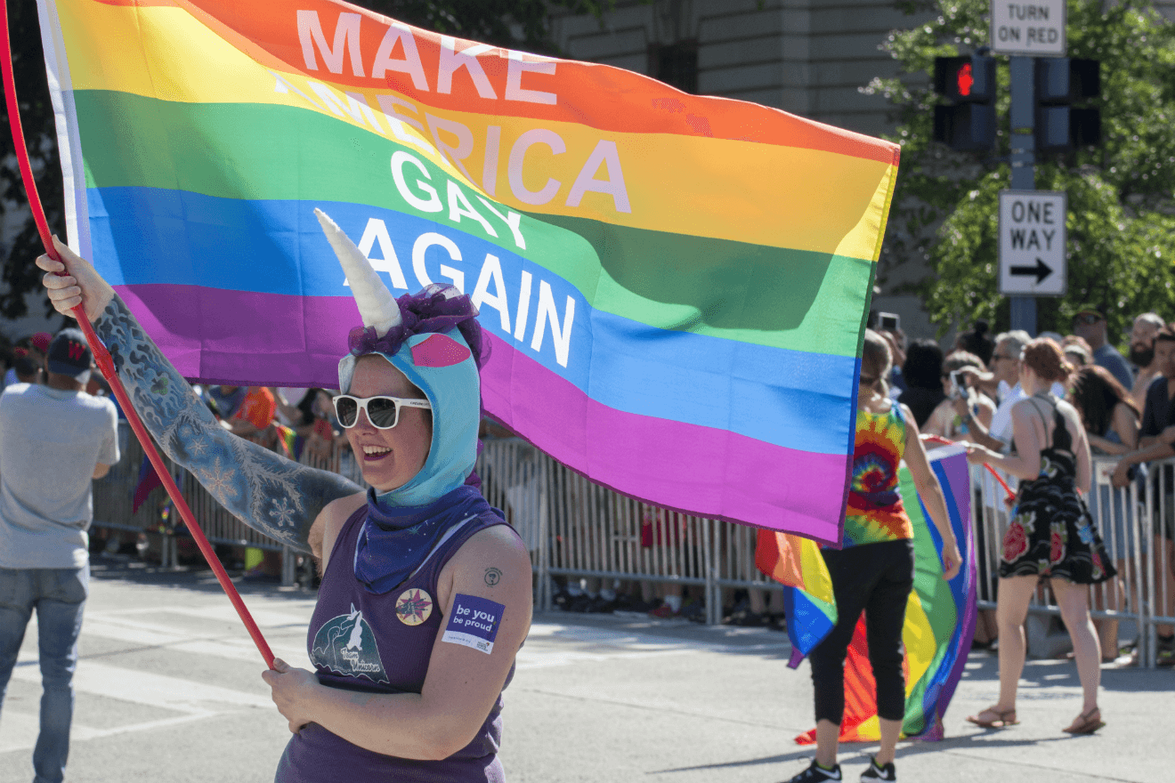 lgbtq activist pride parade make america gay again flag