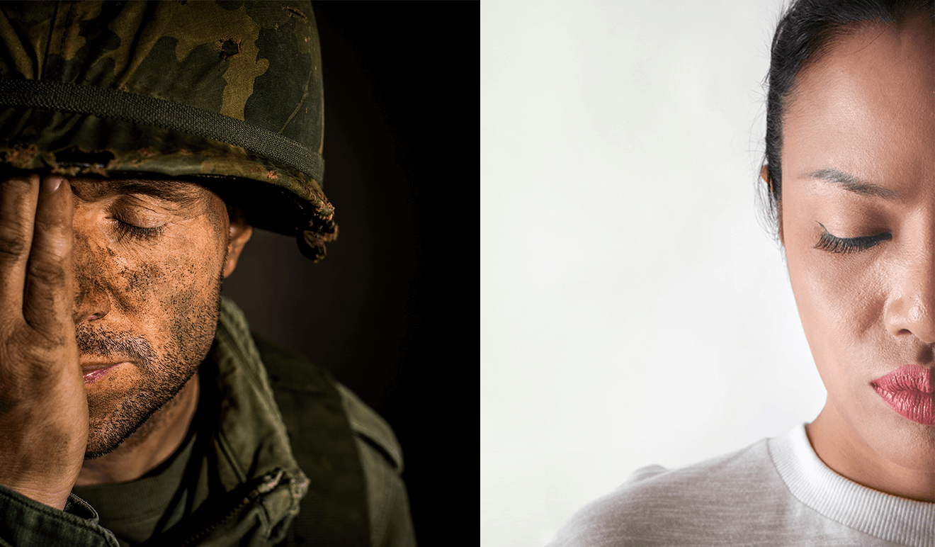 white male solider and black woman split image