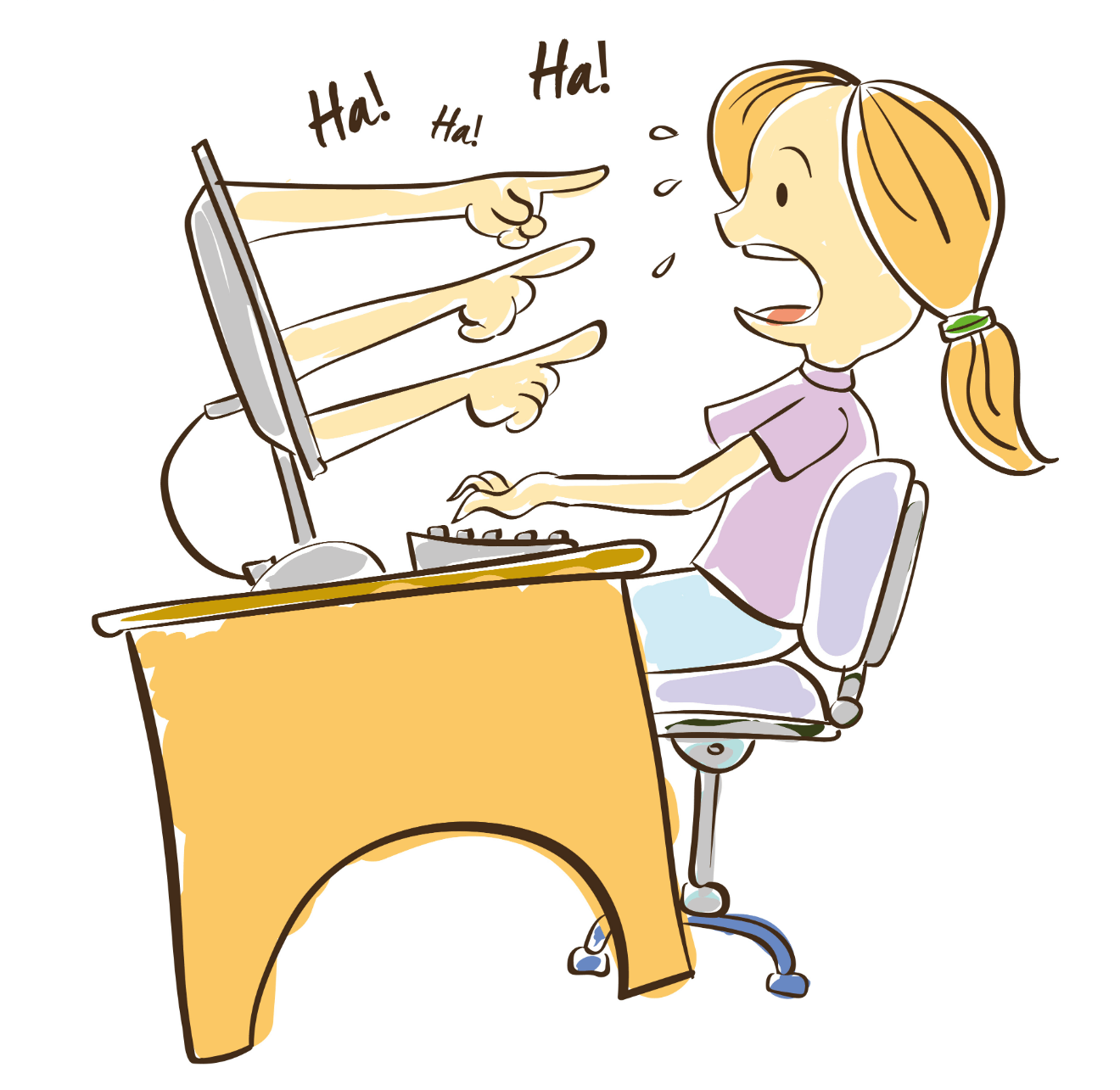 woman cyberbullying cartoon