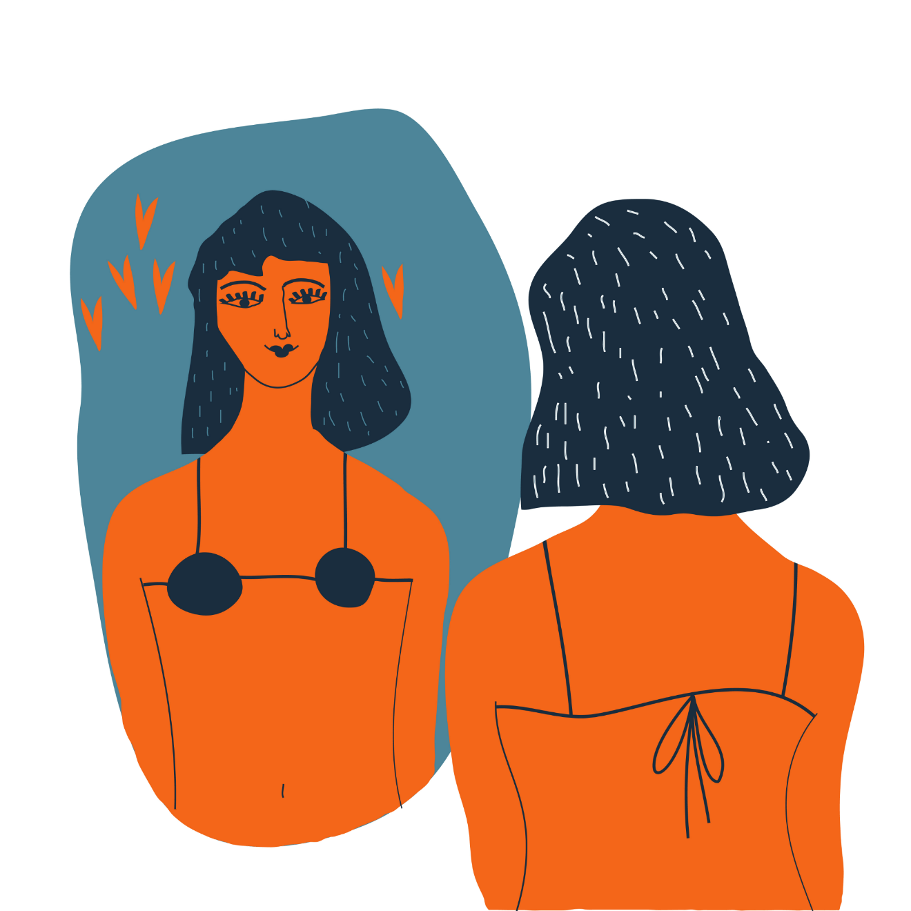 woman in bra looking in mirror illustration