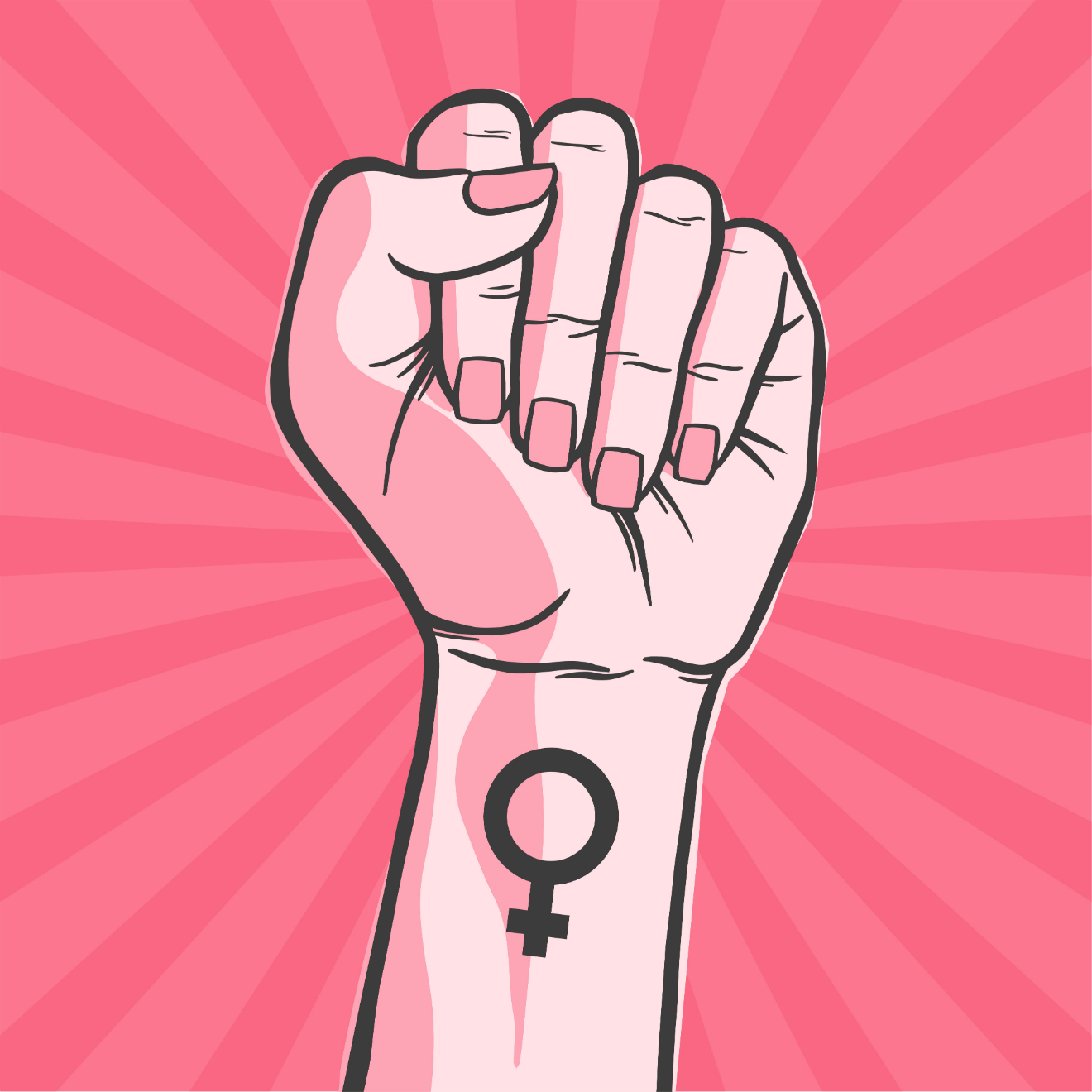 woman fist female gender tattoo illustration pink background