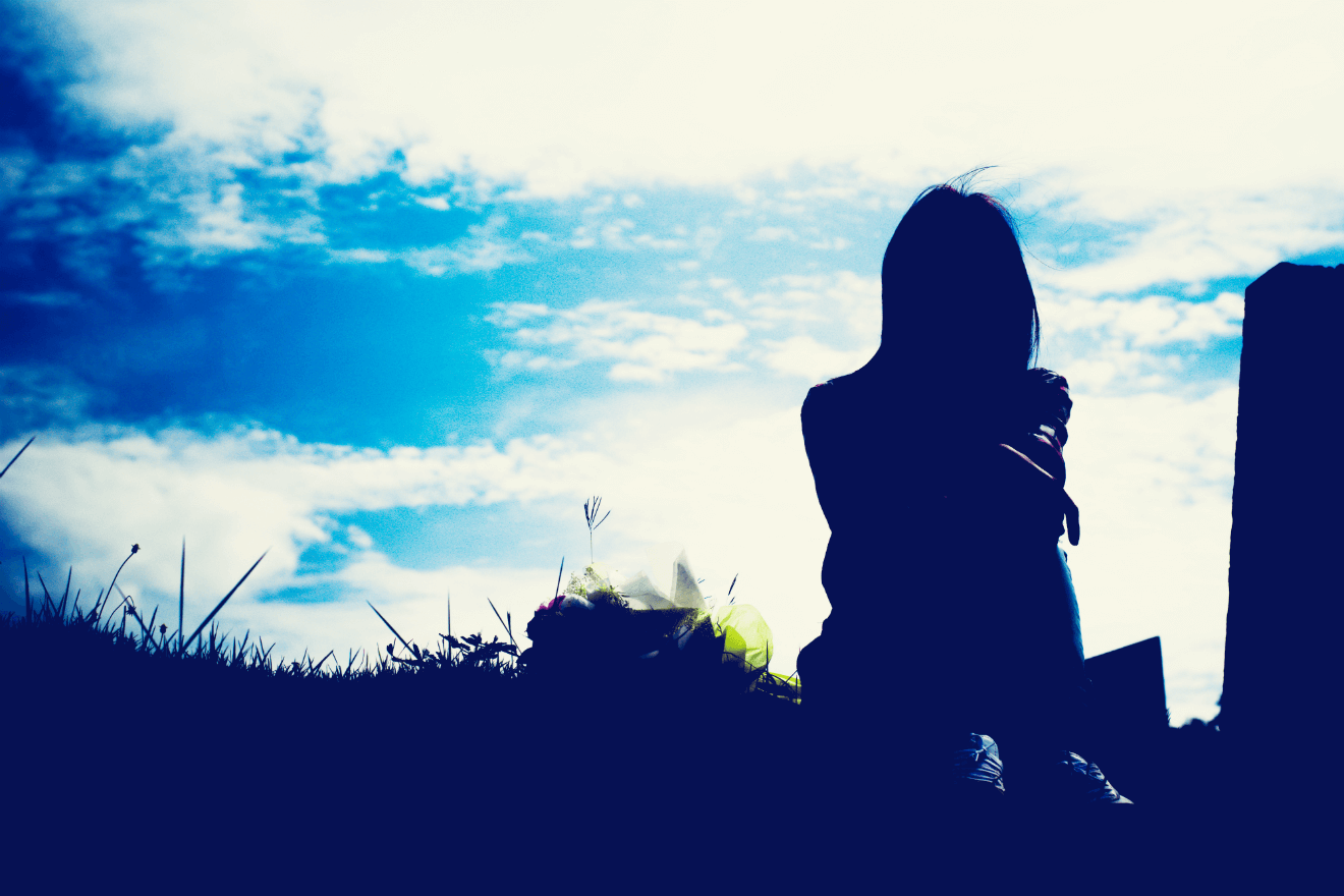 summer sky shadow over woman