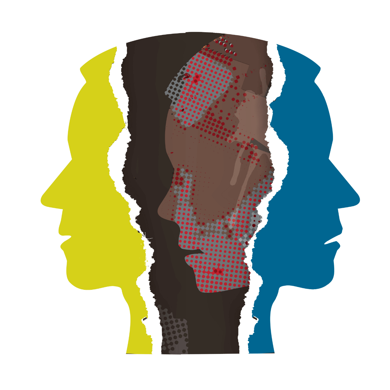 male heads illustration yellow blue red