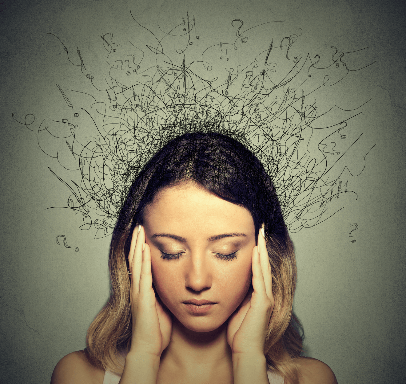 ocd woman stressed out thoughts buzzing around her head