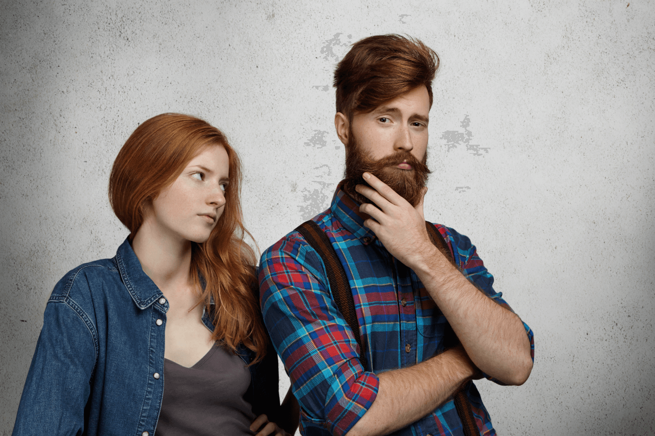 woman with narcissist man partner smug expression