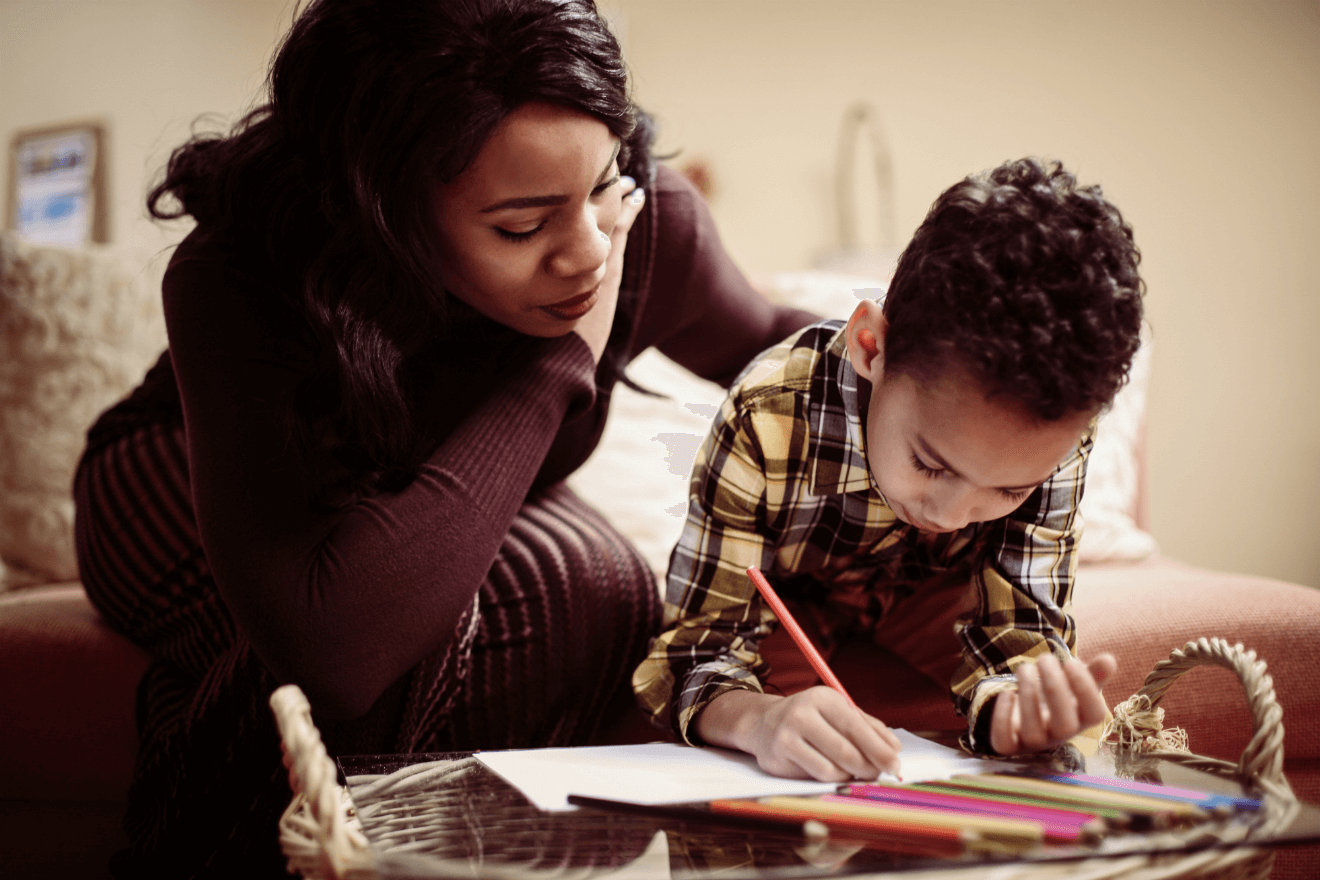 mother with son drawing