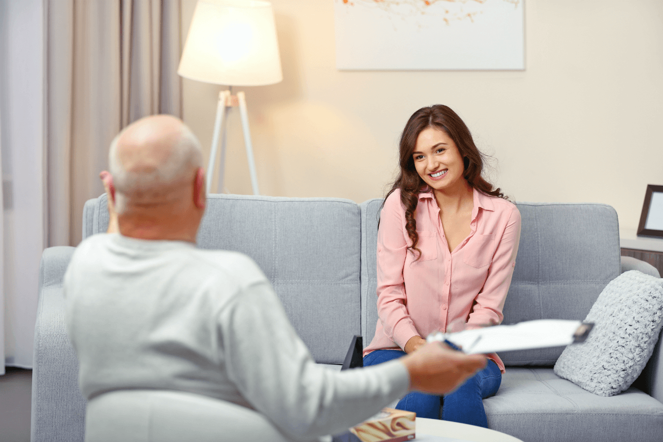 male therapist woman client couch