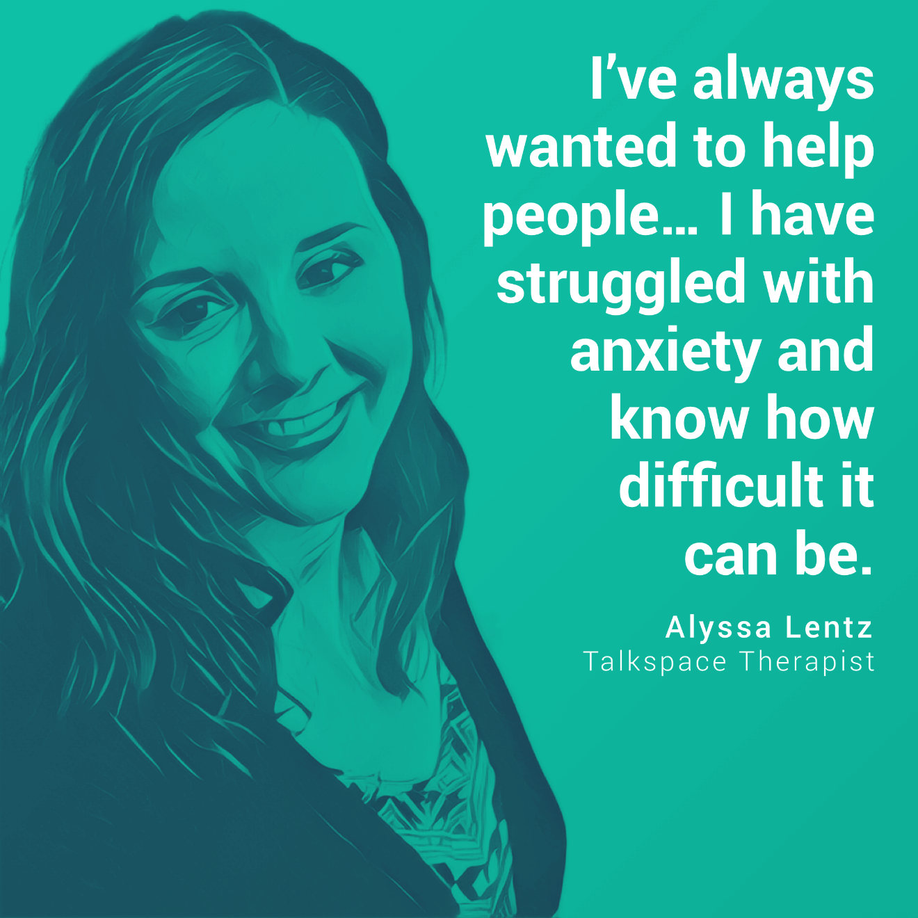 Alyssa Lentz Talkspace therapist illustrated head shot quote