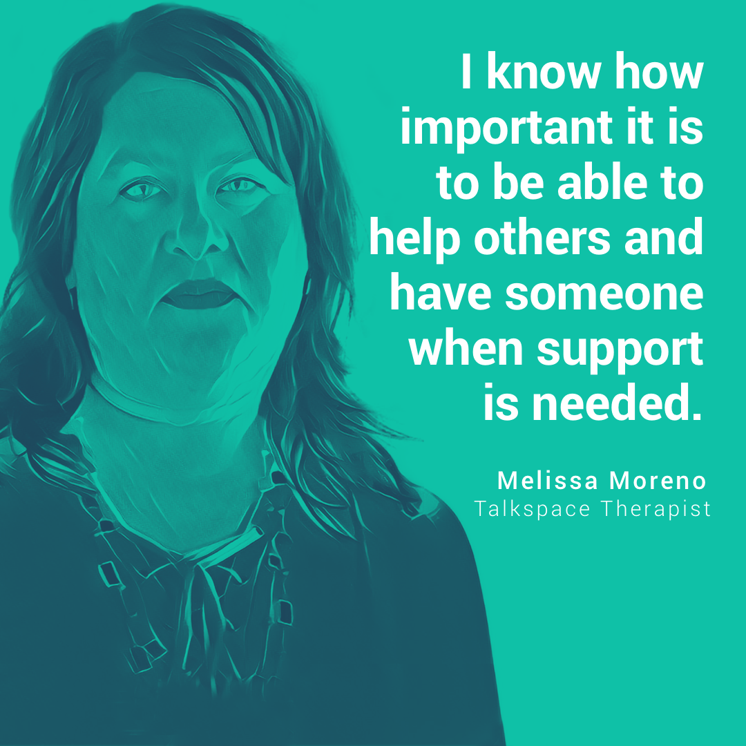 Melissa Moreno Talkspace therapist illustrated head shot quote