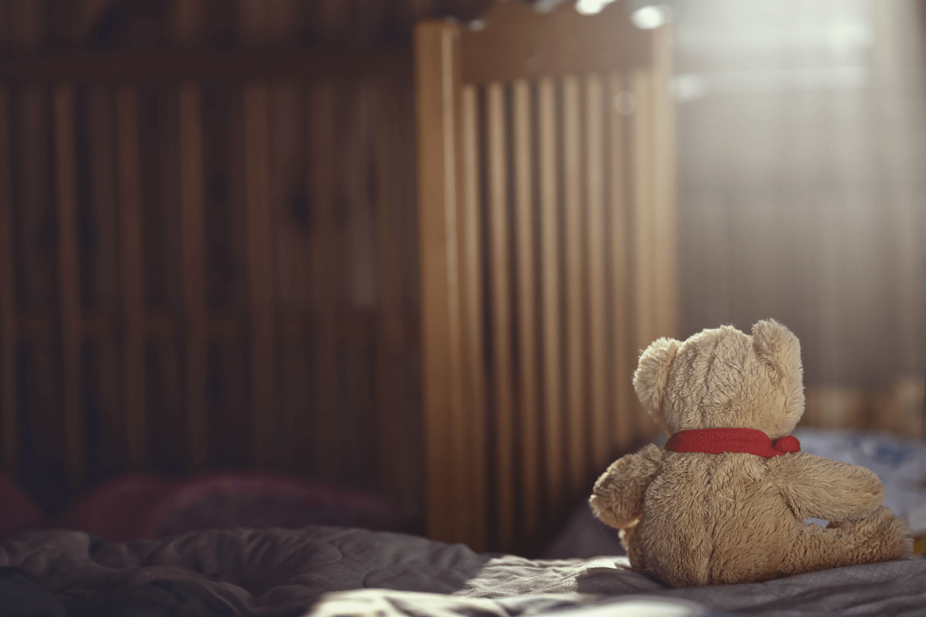 teddy bear in empty child room