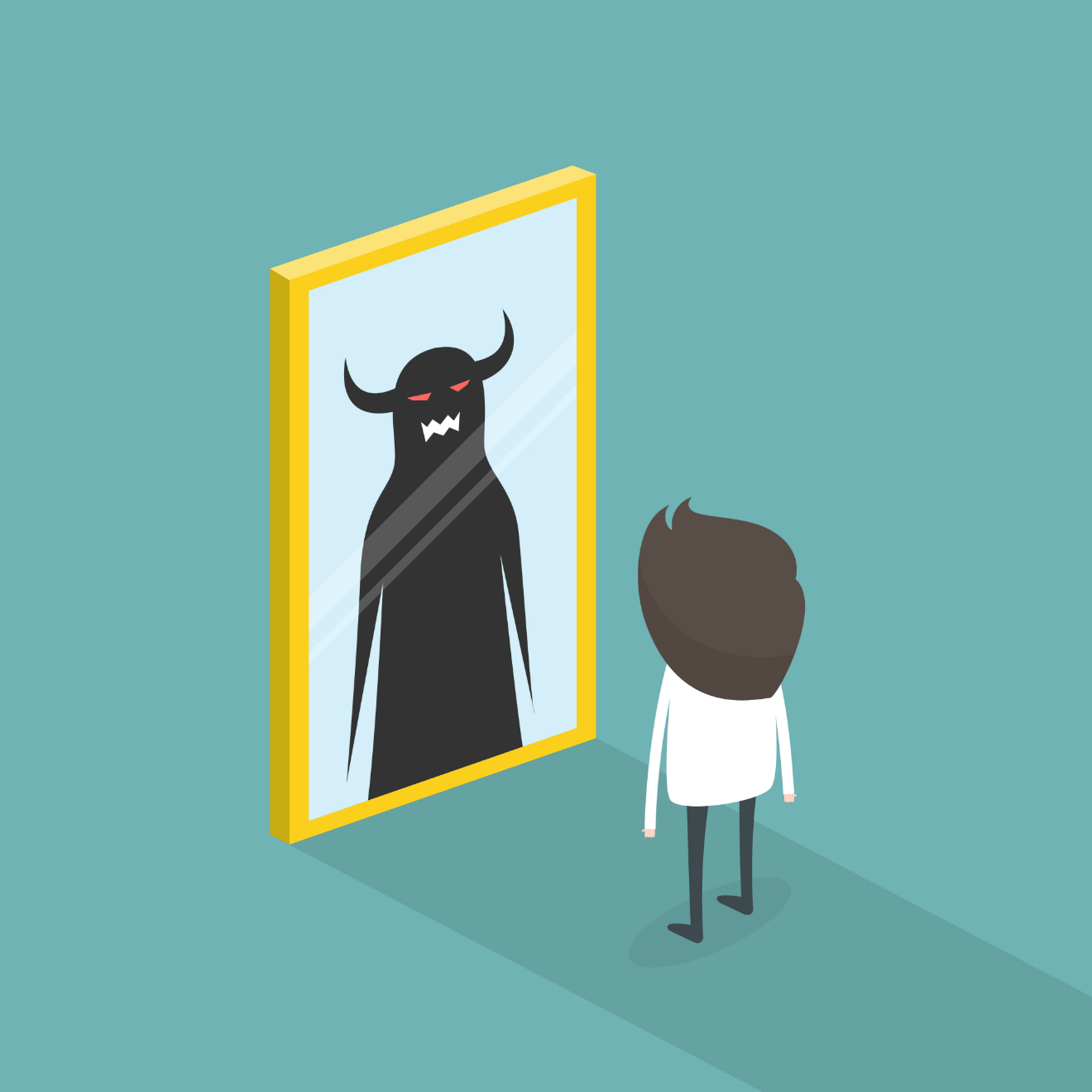 demon in mirror cartoon image