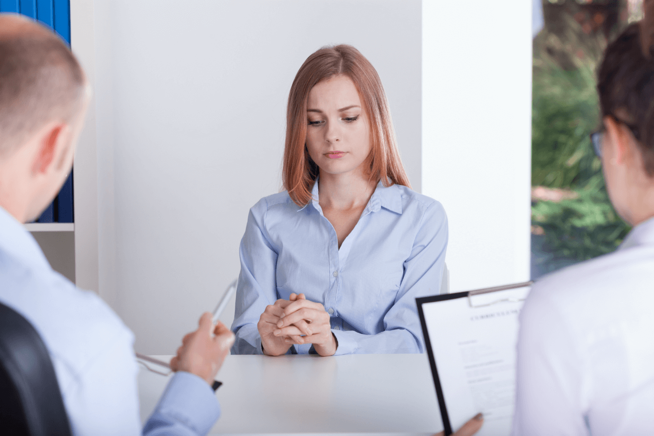 business woman nervous during meeting interview