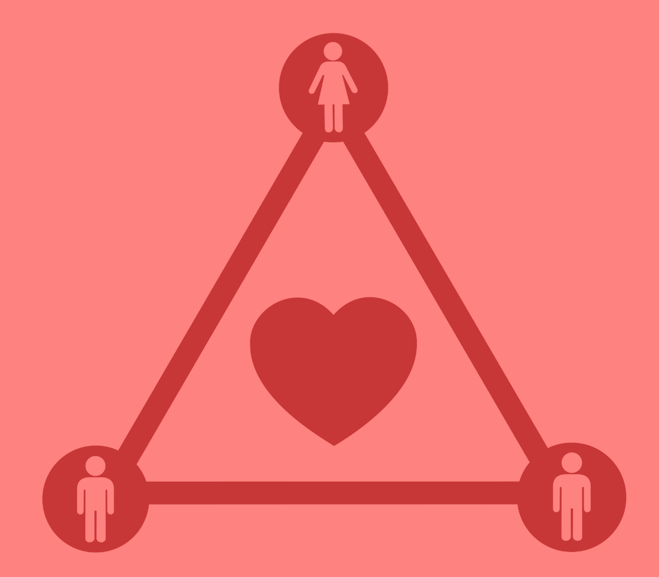 polyamory love triangle illustration