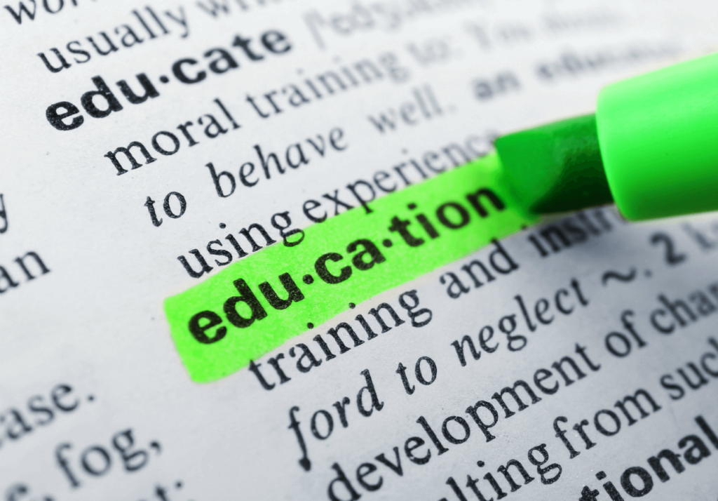 dictionary definition of education highlighted in green
