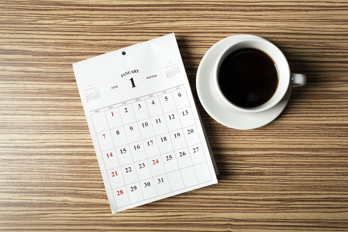 Coffee cup and calendar for accountability