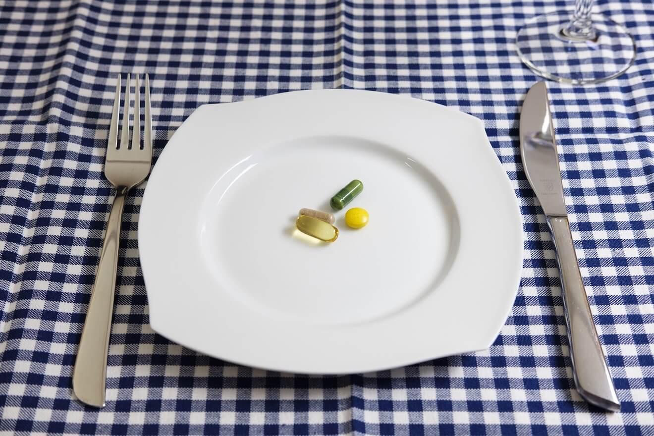 Vitamins on plate