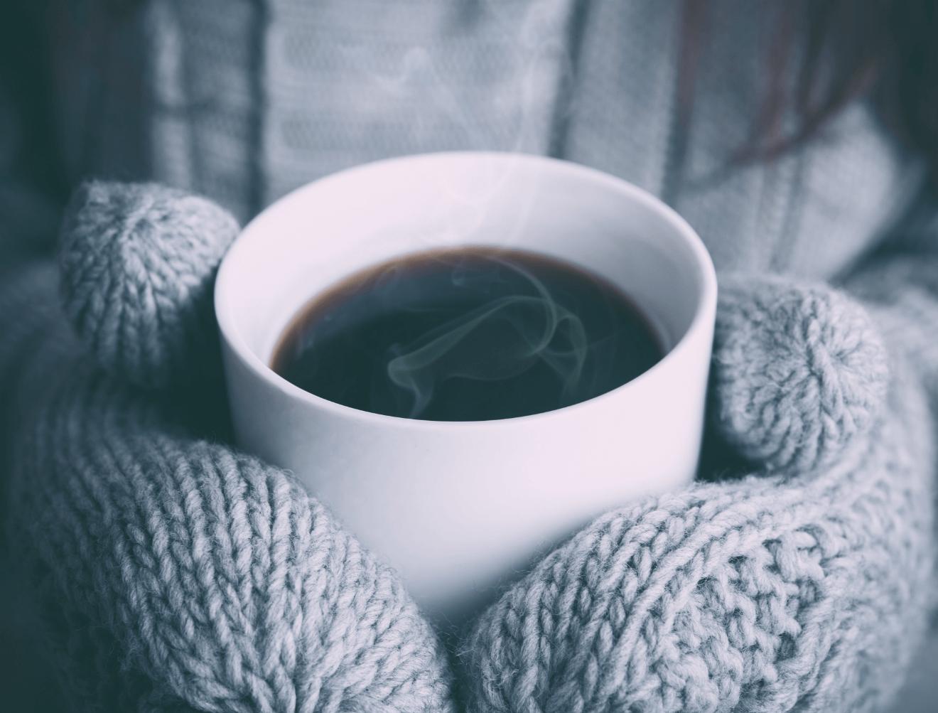winter playlist sweater coffee mittens