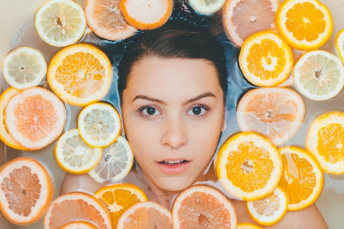 Woman in citrus bath