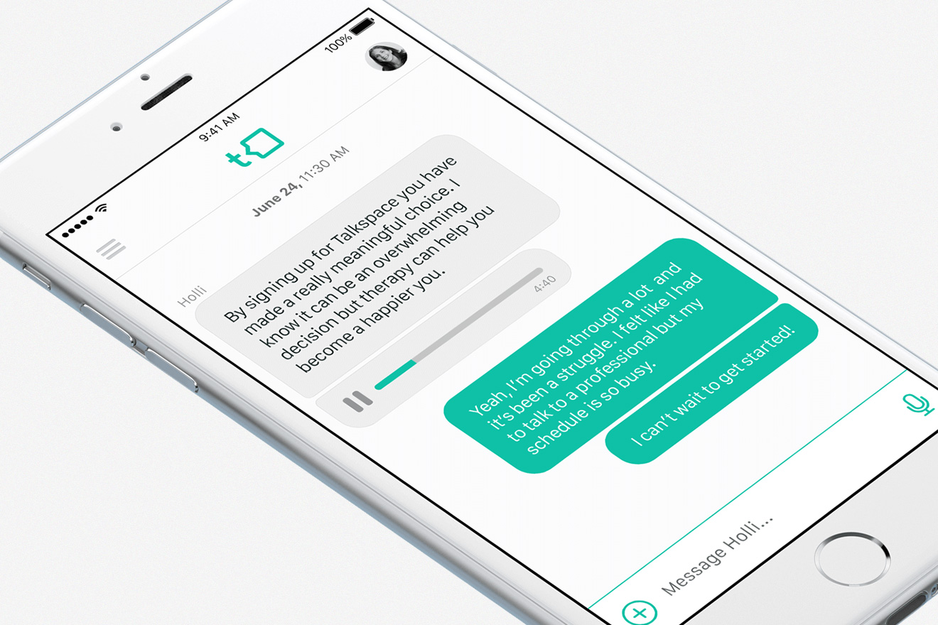 A device featuring Talkspace features
