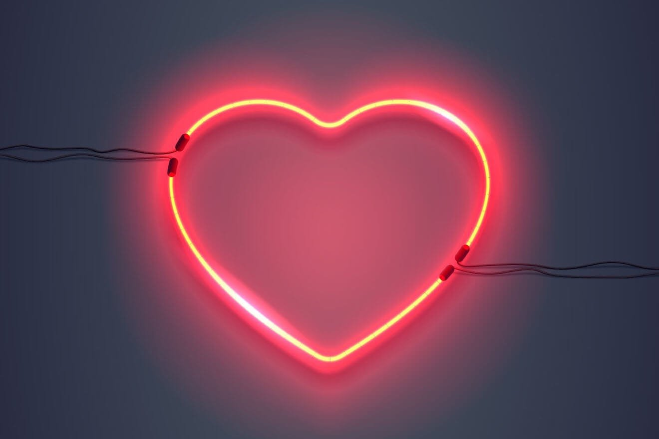 A glowing neon heart
