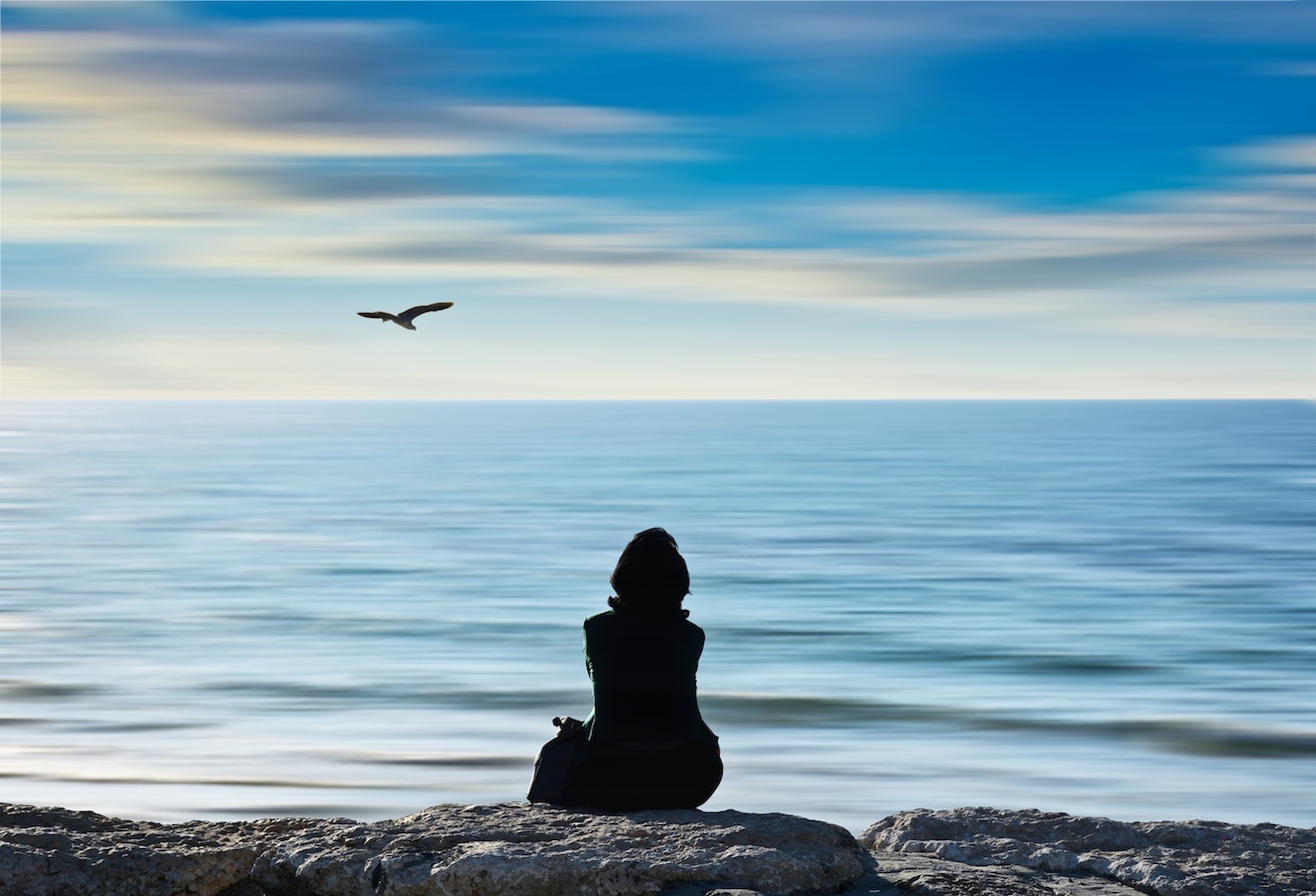 woman sits on rocks by ocean with a bird in the distance