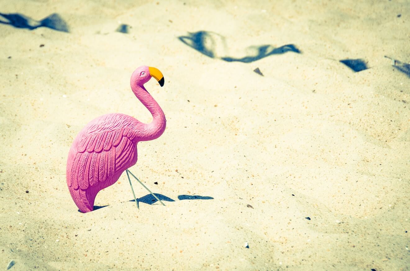A plastic flamingo in the sand