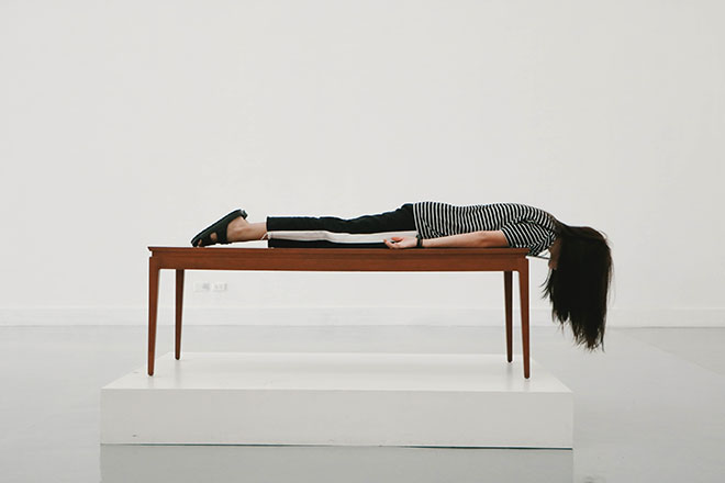 Woman laying on a table