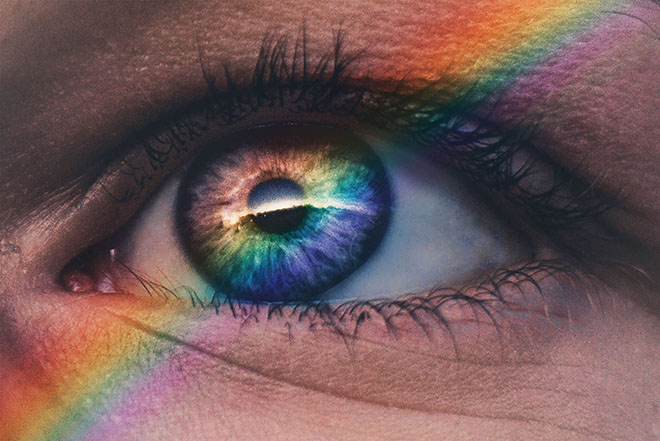 Rainbow on eye