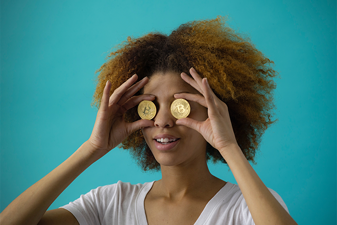 Woman with coins over his eyes