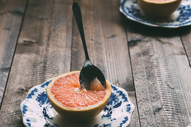 Spoon in a grapefruit