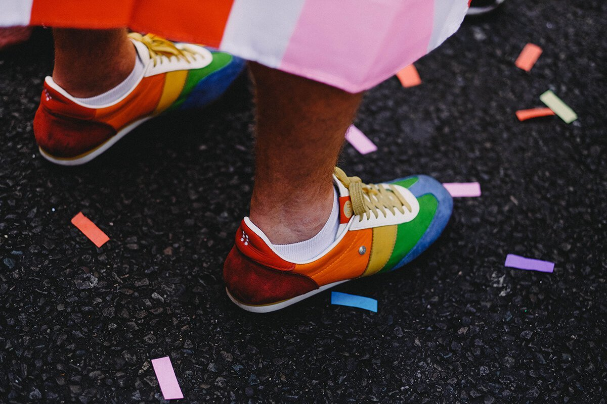 rainbow shoes and confetti