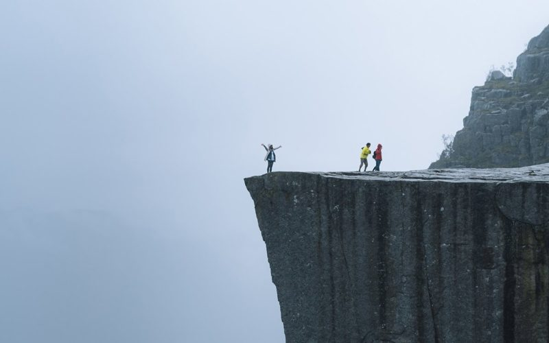 people on a cliff